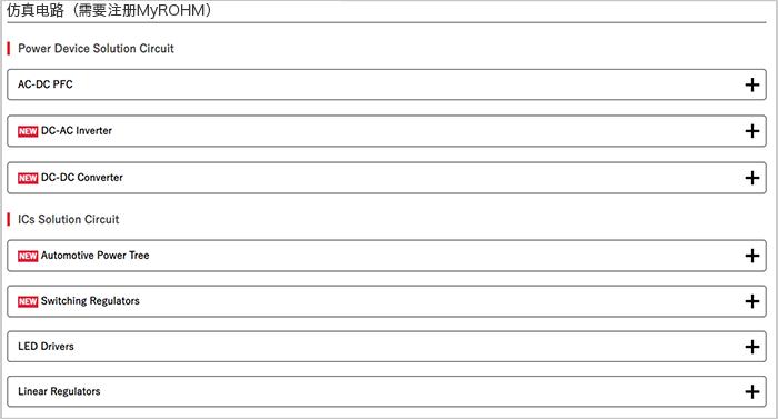 ROHM Solution Simulatorで提供されるSolution Circuit一覧(Webページのキャプチャ画像)