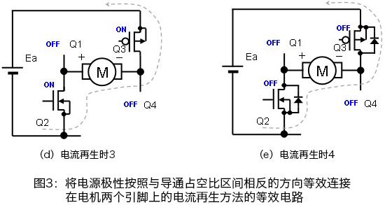 モータの2端子に等価的に電源極性をオンデューティ区間と逆接続する電流回生方法の等価回路